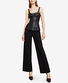 BCBGMAXAZRIA Pleather Lace-Trimmed Top