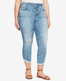 WILLIAM RAST Plus Size High-Rise Ripped Raw-Hem Cropped Jeans