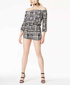 Bar III Off-The-Shoulder Romper, Created for Macy's