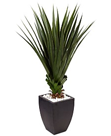 Nearly Natural 4.5' Spiked Agave Indoor/Outdoor Artificial Plant in Black Planter