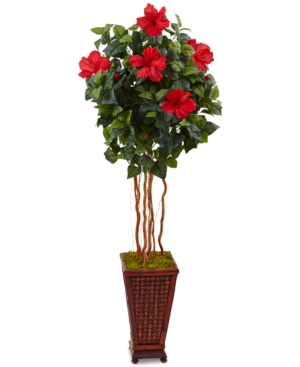 Nearly Natural 5 Hibiscus Artificial Tree in Decorative Wood Planter