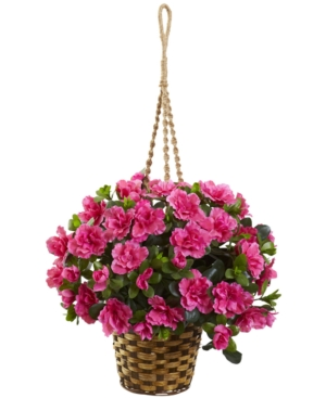 Nearly Natural Azalea Flowering Artificial Plant Hanging Basket