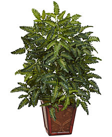 Nearly Natural Bracken Fern Artificial Plant in Wood Planter