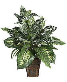 Nearly Natural Mixed Greens & Zebra Artificial Plant in Wicker Planter