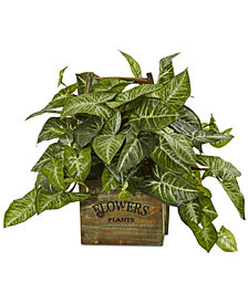 Nearly Natural Nephthytis Artificial Plant in Rustic Wood Box Planter