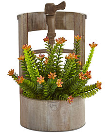 Nearly Natural Sedum Artificial Plant in Wooden Garden Planter