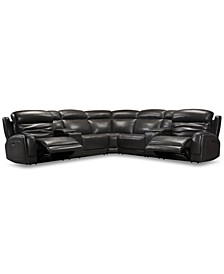 CLOSEOUT! Winterton 7-Pc. Leather Sectional Sofa With 2 Power Recliners, Power Headrests, Lumbar, 2 Consoles And USB Power Outlet