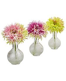 Daisy Artificial Arrangement with Glass Vase, Set of 3