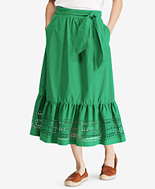 Lauren Ralph Lauren Poplin Midi Skirt