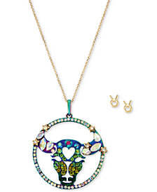 "Betsey Johnson Two-Tone Multi-Stone Taurus Zodiac Pendant Necklace & Stud Earrings Set, 21-1/2"" + 3"" extender"