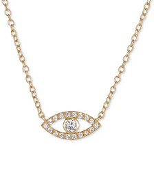 "Cubic Zirconia Evil Eye 18"" Pendant Necklace in Gold-Flashed Sterling Silver"