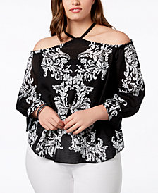 I.N.C. Plus Size Cotton Cold-Shoulder Top, Created for Macy's