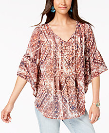 Style & Co Geo-Print Pintuck Peasant Top, Created for Macy's