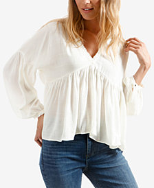 Lucky Brand Ruffled-Neck Peasant Top