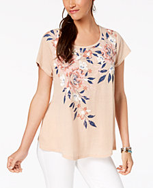 Style & Co Floral-Print Swing Top, Created for Macy's