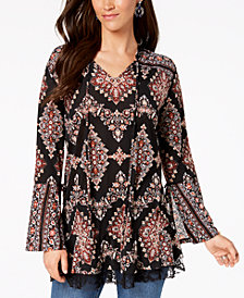 Style & Co Geo-Print Lace-Hem Peasant Top, Created for Macy's