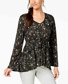 Style & Co Printed Babydoll Top, Created for Macy's