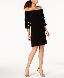 MSK Petite Off-The-Shoulder Faux-Pearl-Embellished Dress