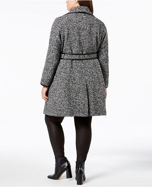 d8e260c8d8a54 DKNY Plus Size Faux-Leather-Trim Wrap Coat