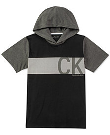 Calvin Klein Big Boys Graphic-Print Hooded Cotton T-Shirt