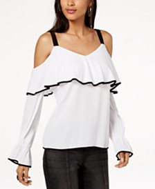 I.N.C. Petite Ruffled Cold-Shoulder Top, Created for Macy's