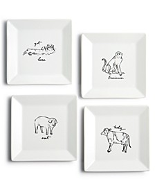 CLOSEOUT! Animal Appetizer Plates, Set of 4, Created for Macy's