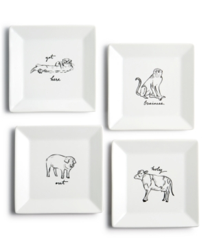 Closeout! The Cellar Animal Appetizer Plates, Set of 4, Created for Macy's