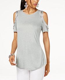 I.N.C. Petite Embellished Cold-Shoulder Top, Created for Macy's