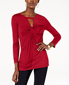 I.N.C. Petite Twist-Front Keyhole Top, Created for Macy's