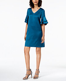 MSK Ruffled-Sleeve Shift Dress