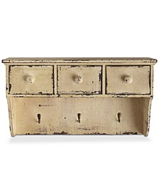 "18.75"" Decorative Distressed Wood Shelf with Drawers & Hooks"