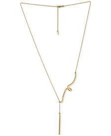 "RACHEL Rachel Roy Gold-Tone Swirl & Polished Bar Lariat Necklace, 19"" + 2"" extender"