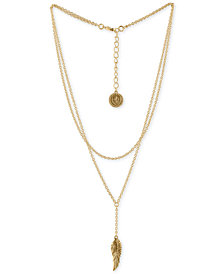 "RACHEL Rachel Roy Gold-Tone Double-Row Leaf Pendant Necklace, 15"" + 2"" extender"