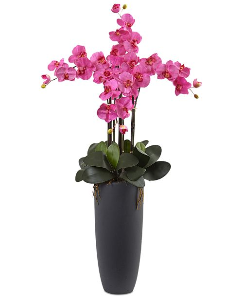 Nearly Natural Dark Pink Phalaenopsis Orchid Artificial Arrangement with Bullet Planter