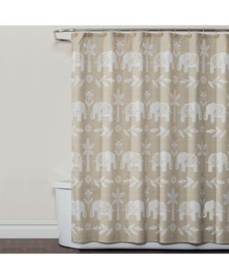 "Elephant Walk 70"" x 72"" Graphic-Print Shower Curtain"