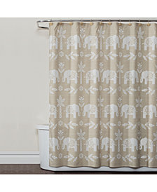 "Saturday Knight Elephant Walk 70"" x 72"" Graphic-Print Shower Curtain"
