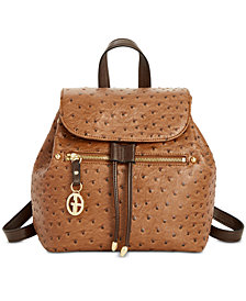 Giani Bernini Ostrich Drawstring Backpack, Created for Macy's