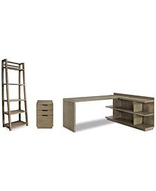 Ridgeway Home Office 4-Pc. Set (Return Desk, Peninsula USB Outlet Bookcase, Mobile File Cabinet, & Leaning Bookcase)