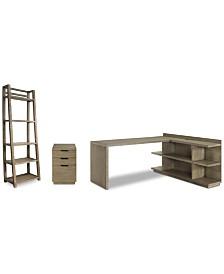 Ridgeway Home Office Furniture, 4-Pc. Set (Return Desk, Peninsula USB Outlet Bookcase, Mobile File Cabinet, & Leaning Bookcase)