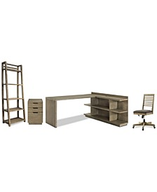 Ridgeway Home Office 5-Pc. Set (Return Desk, Peninsula USB Outlet Bookcase, Slat Back Desk Chair, Mobile File Cabinet, & Leaning Bookcase)