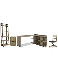 Ridgeway Home Office Furniture, 5-Pc. Set (Return Desk, Peninsula USB Outlet Bookcase, Slat Back Desk Chair, Mobile File Cabinet, & Leaning Bookcase)
