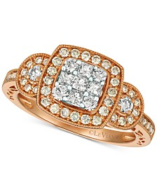 Le Vian® Nude™ Diamond Cluster Ring (3/4 ct. t.w.) in 14k Gold & White Gold