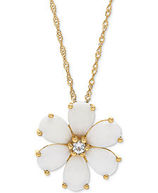 "Opal (1-1/2 ct. t.w.) & White Topaz Accent Flower 18"" Pendant Necklace in 14k Gold"