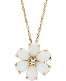 """Opal (1-1/2 ct. t.w.) & White Topaz Accent Flower 18"""" Pendant Necklace in 14k Gold"""