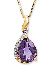 "Amethyst (1-3/8 ct. t.w.) & Diamond Accent 18"" Pendant Necklace in 14k Gold"