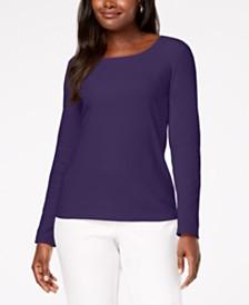 Karen Scott Petite Cotton Scoop-Neck Top, Created for Macy's