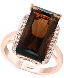 EFFY® Smoky Quartz (7-1/3 ct. t.w.) & Diamond (1/10 ct. t.w.) Ring in 14k Rose Gold