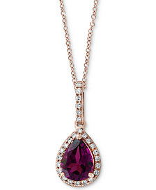 "EFFY® Rhodolite Garnet (1 ct. t.w.) & Diamond (1/10 ct. t.w.) 18"" Pendant Necklace in 14k Rose Gold"