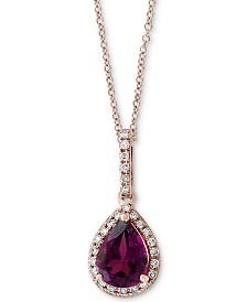 "EFFY® Rhodolite Garnet (1 ct. t.w.) & Diamond (1/10 ct. t.w.) 18"" Pendant Necklace in 14k Rose Gold"