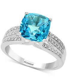 EFFY® Blue Topaz (4-3/8 ct. t.w.) & Diamond (1/8 ct. t.w.) Ring in 14k White Gold